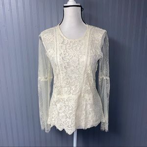 Women's Lucky Brand Lace Long Sleeve Top Blouse M